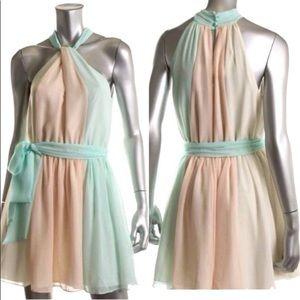 Modcloth Ombre Sherbet Colorblock Halter Dress M